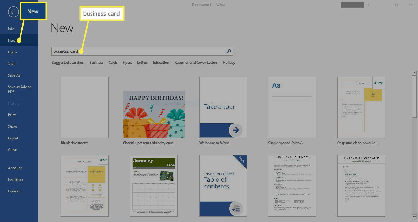 New and business card highlighted in the Microsoft Word search bar