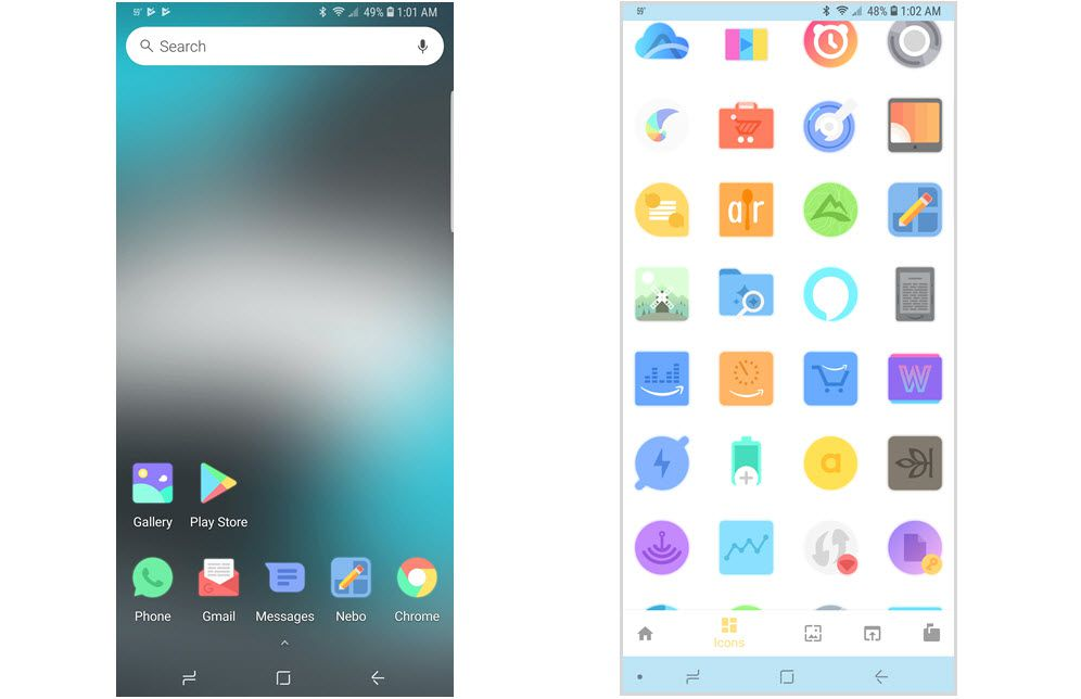 Screenshots of the Afterglow icon pack for Android.