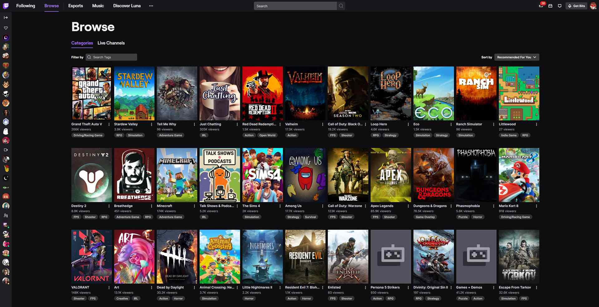 A screenshot of Twitch's browse page after logging in