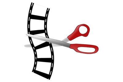 Illustration of scissors cutting film