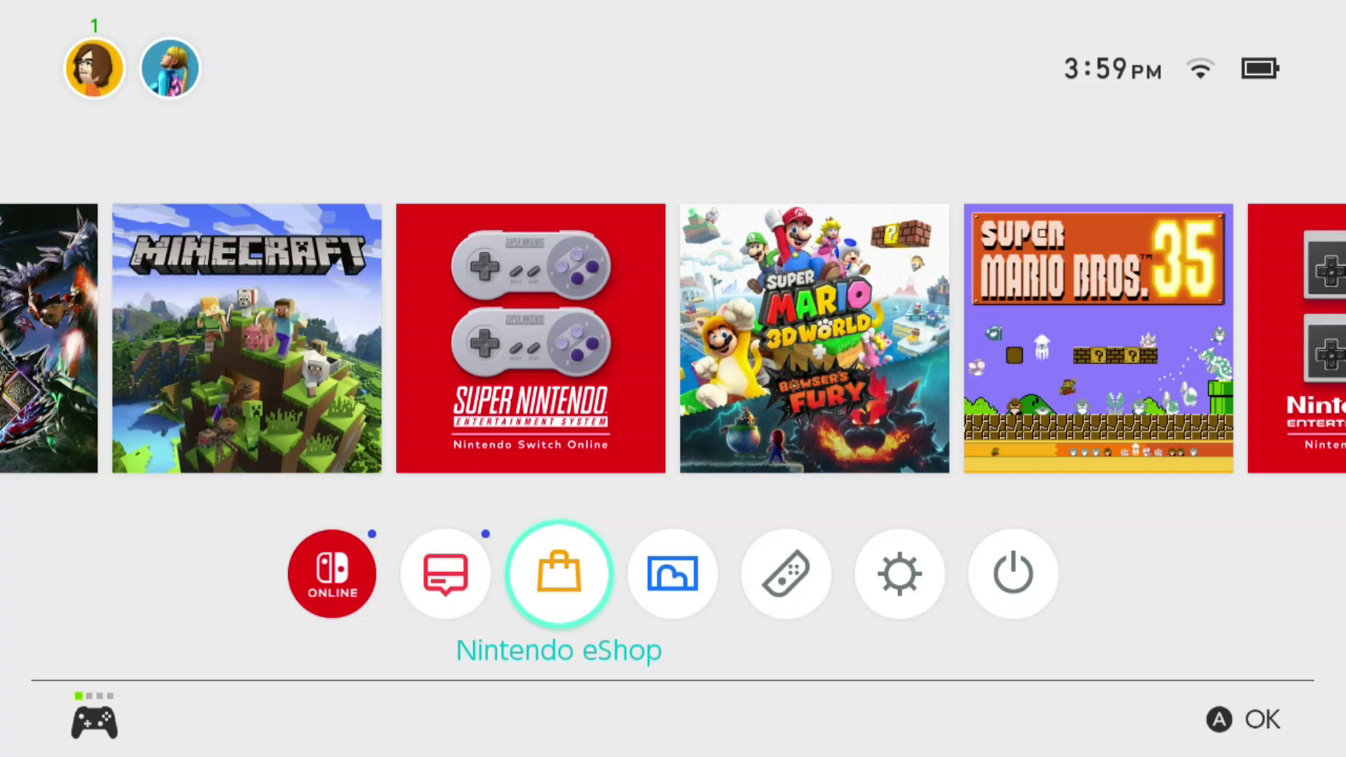 Nintendo eShop highlighted on the Nintendo Switch home screen.
