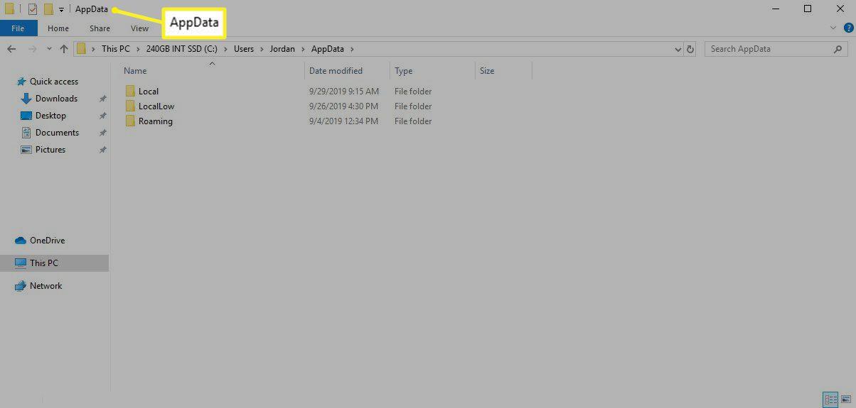 The AppData folder