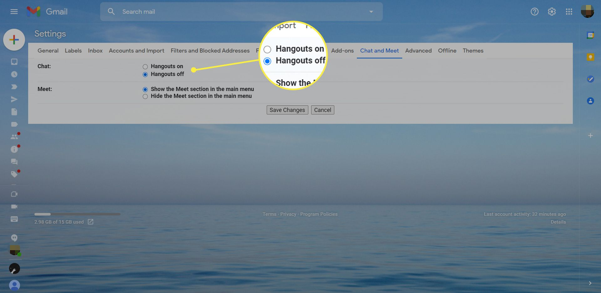Gmail settings with the Hangouts off button highlighted