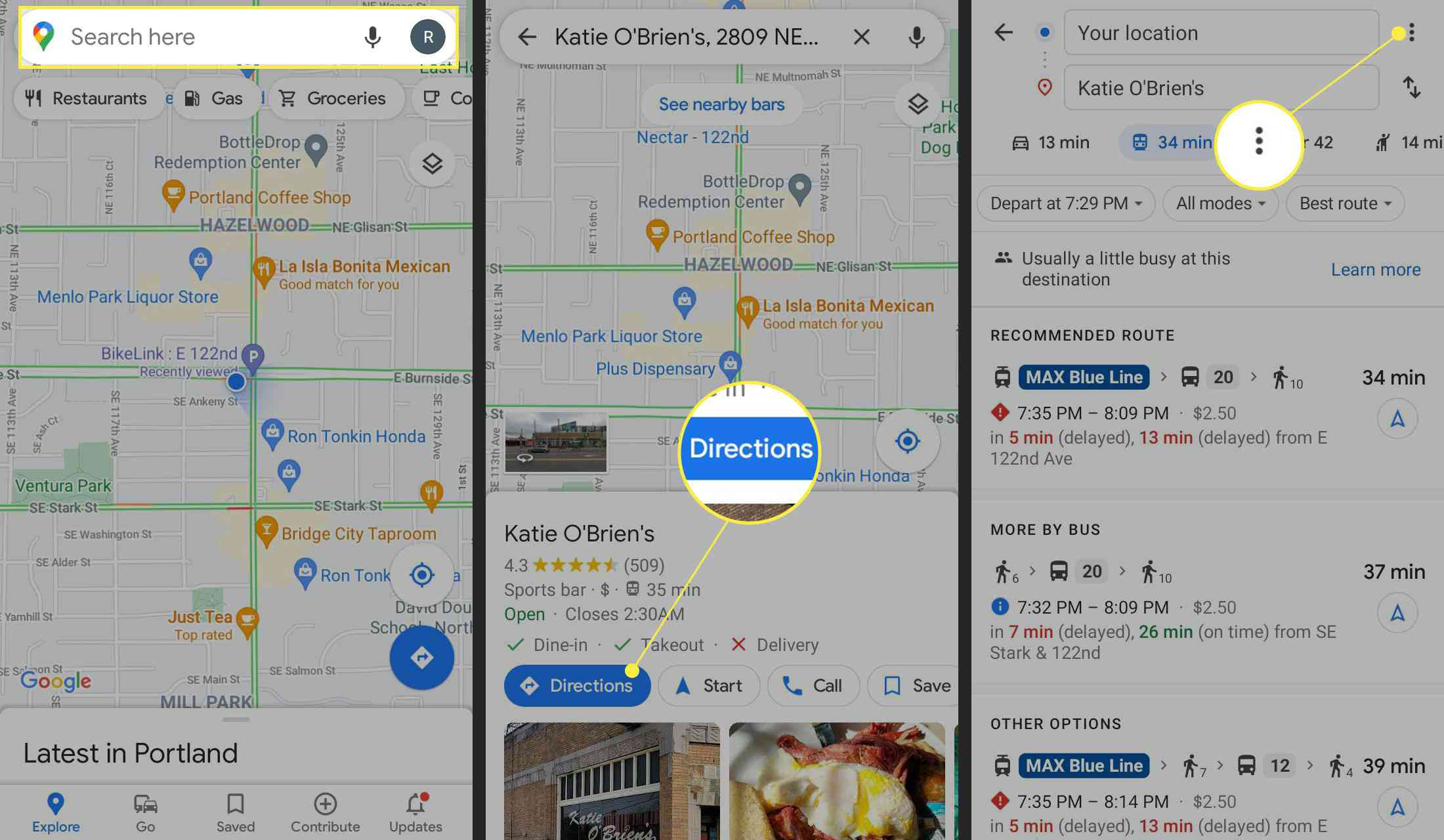 Destination Search, Directions, and Three dot menu highlight in Google Maps for Android