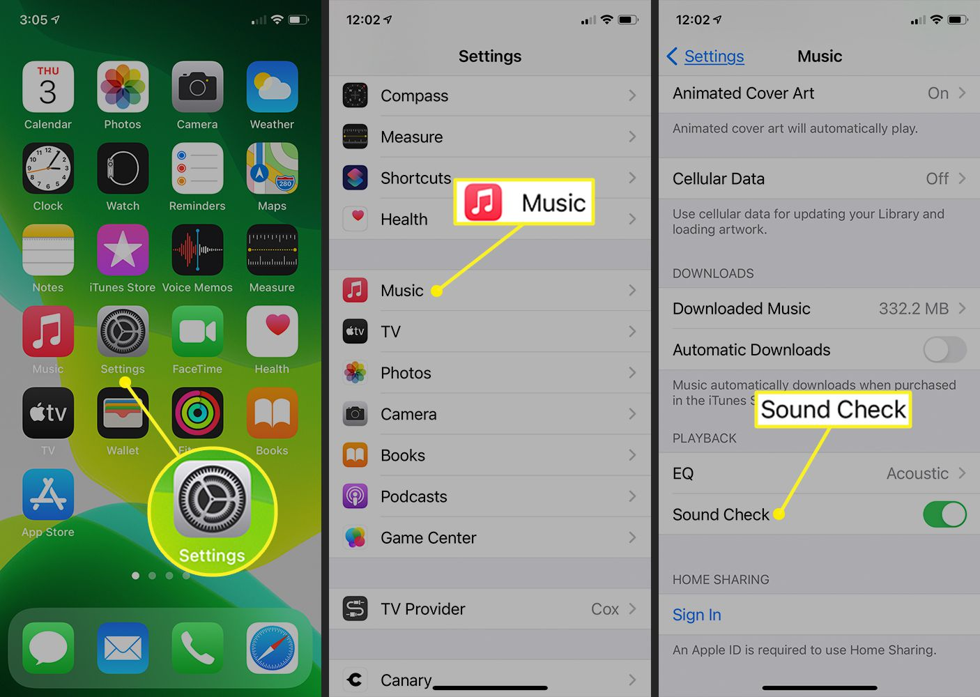 iPhone Settings showing Sound Check