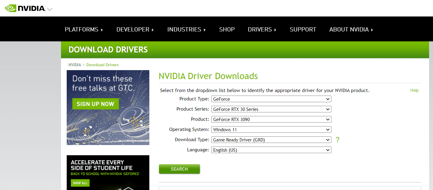 NVIDIA Driver Downloads page