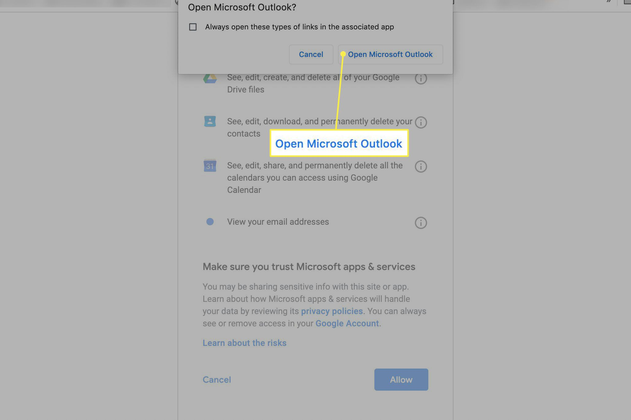 Open Microsoft Outlook to complete the account addition process