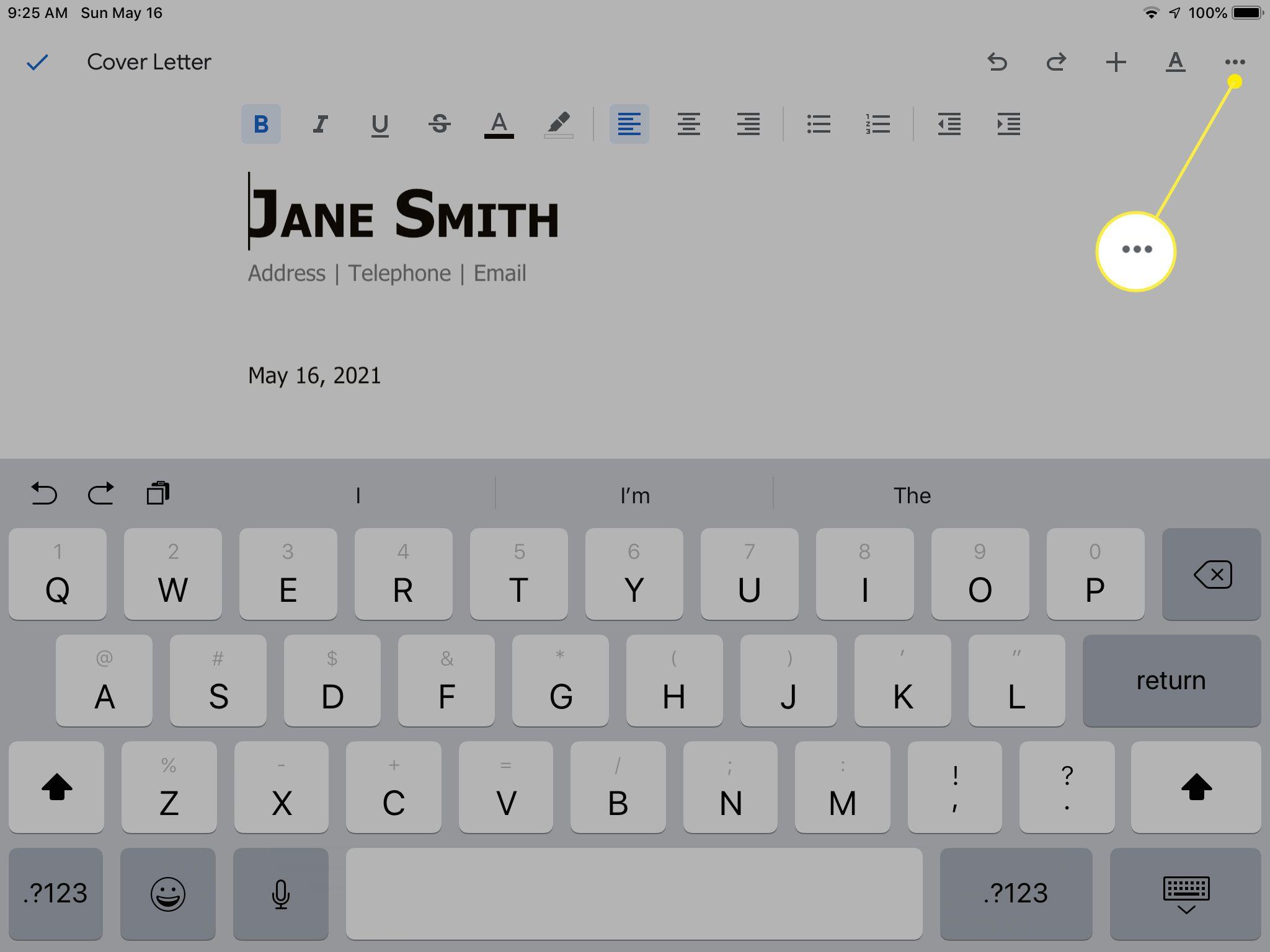 Menu icon highlighted on Google Docs editing screen