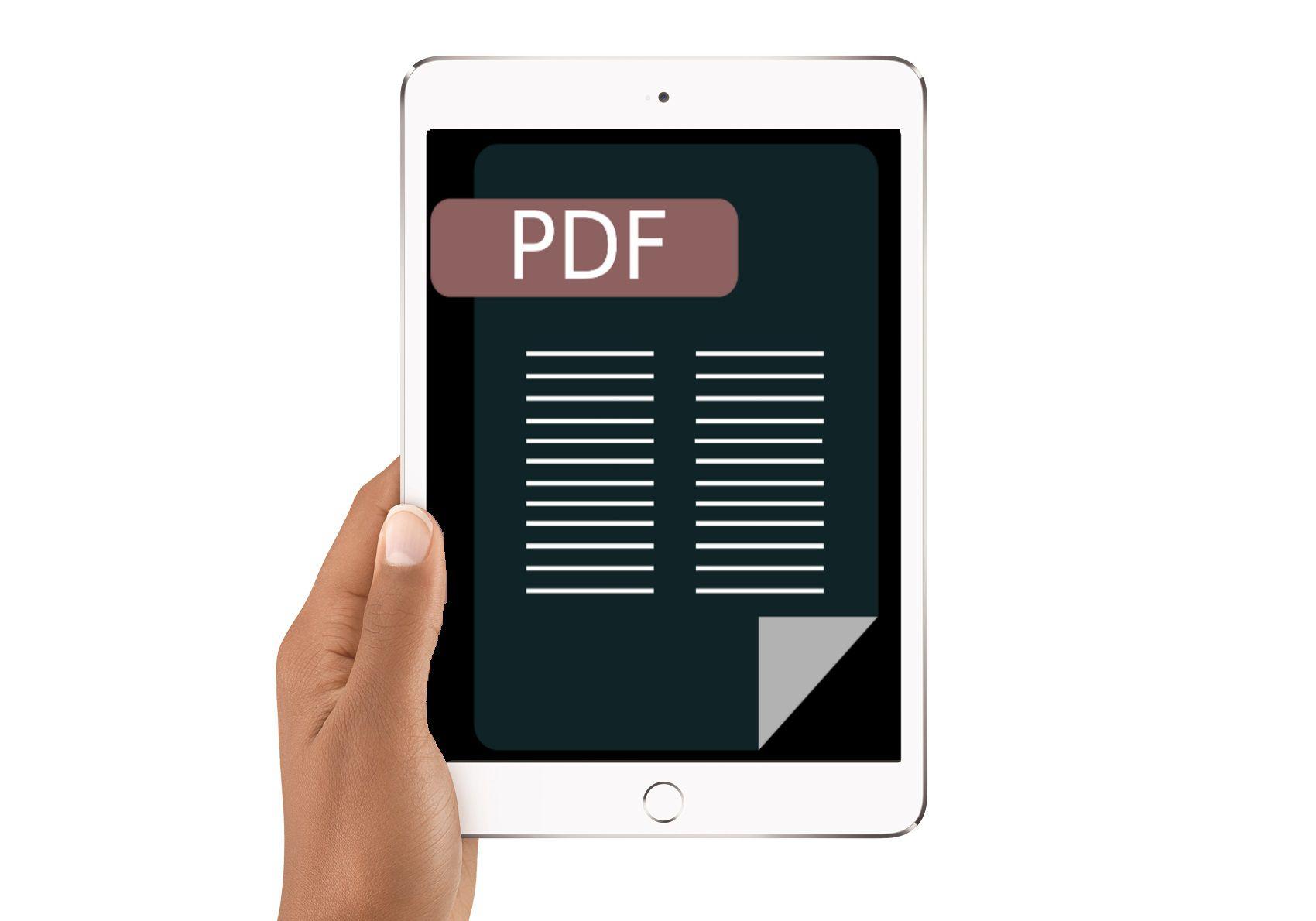 iPad with PDF image on the screen