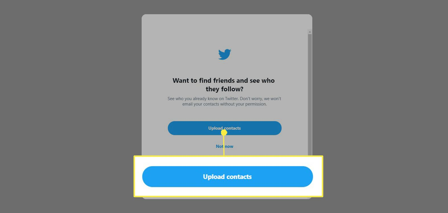 Twitter - select Upload contacts