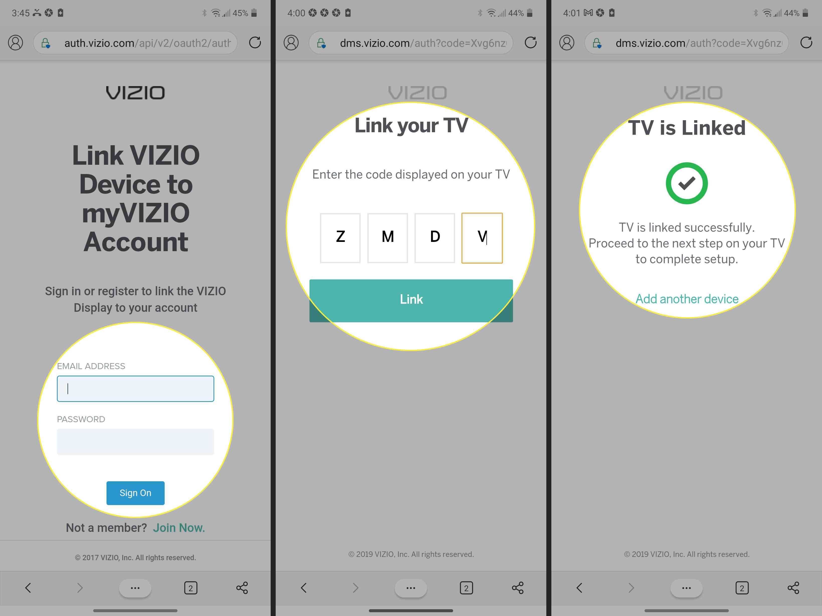 Vizio Smart TV site with account linking info, link code, and confirmation message highlighted