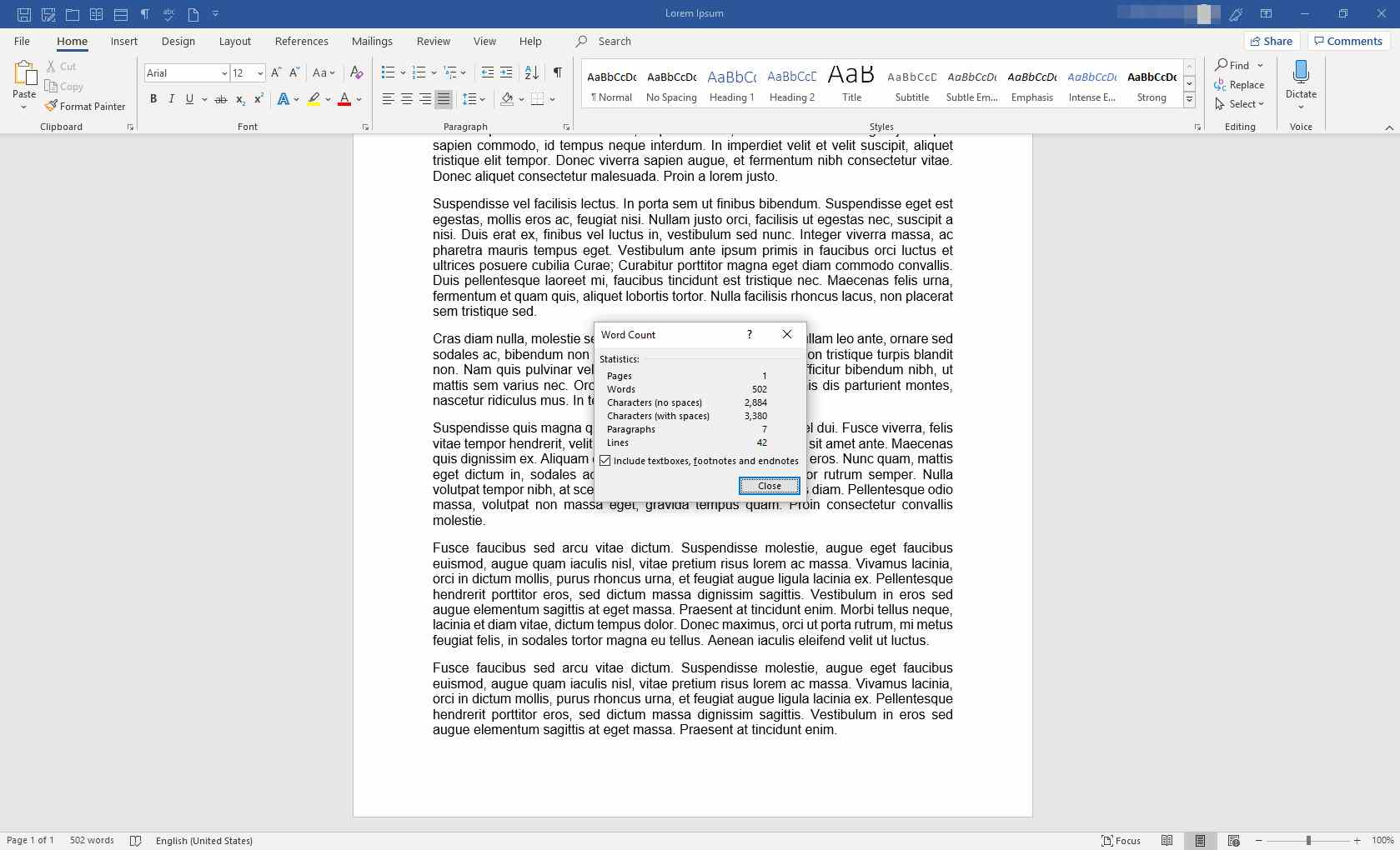 MS Word with Word Count window displayed