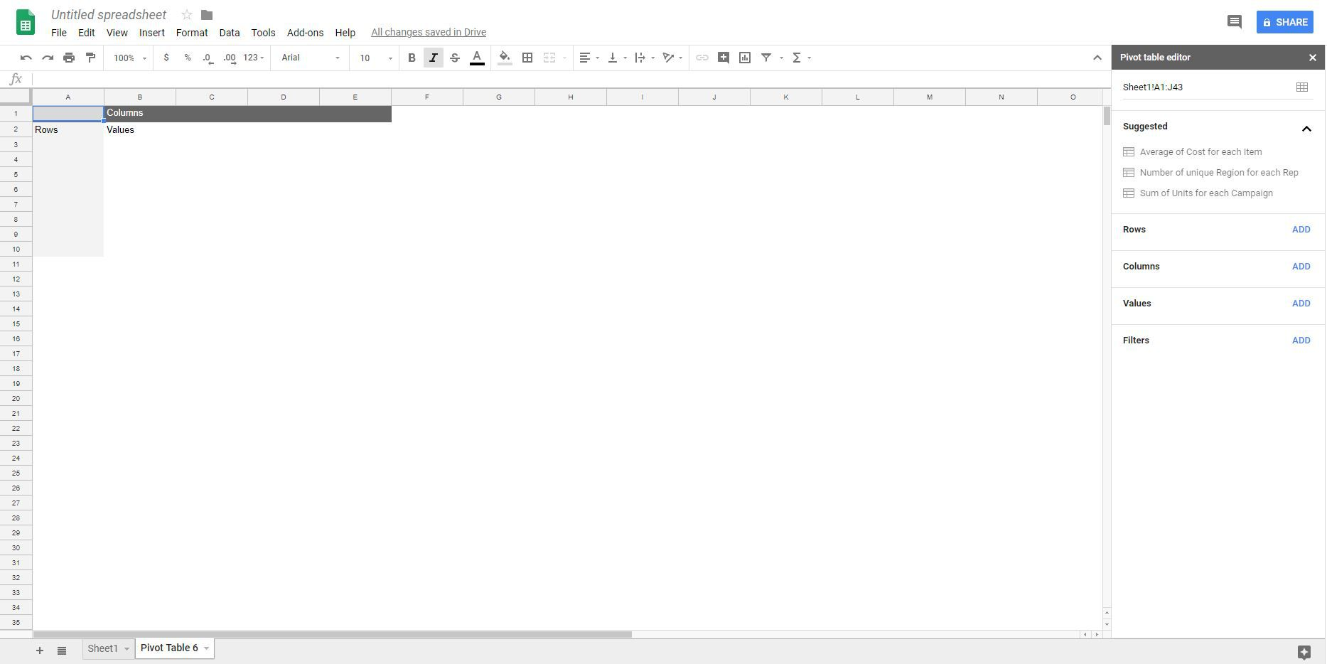 Pivot table sheet and editor in Google Sheets