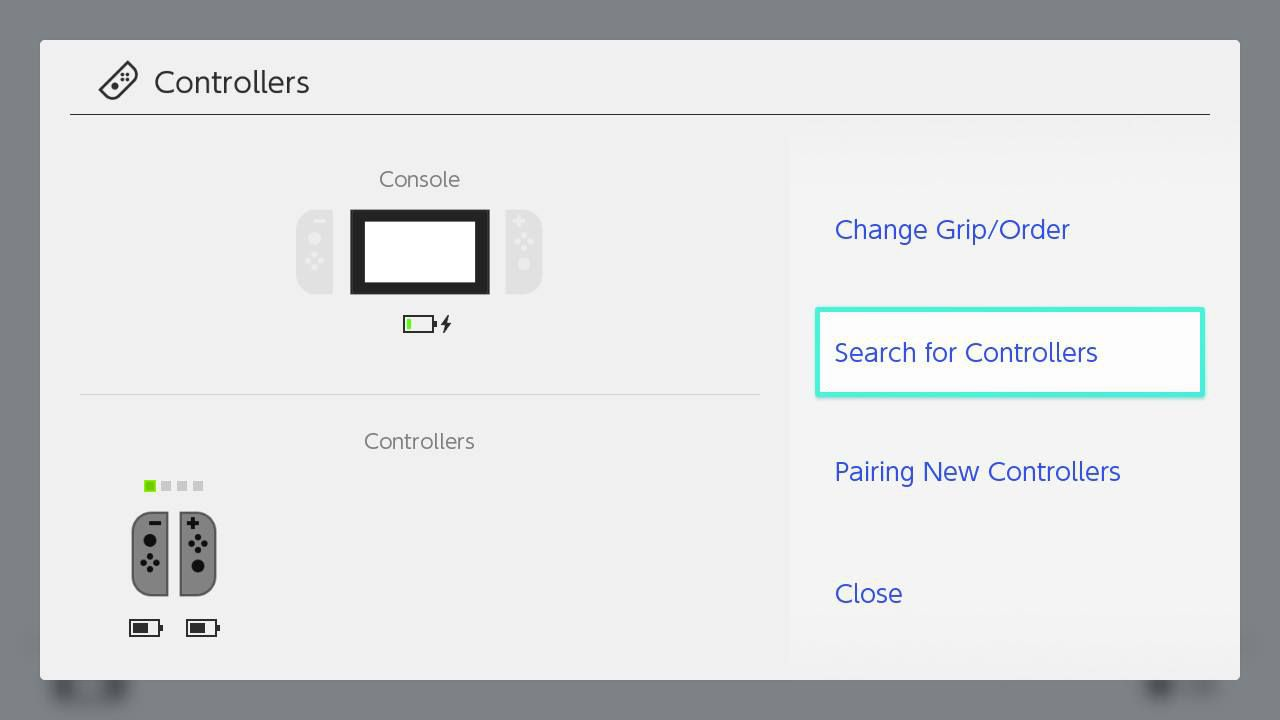 The Nintendo Switch Controllers Search For Controllers Option