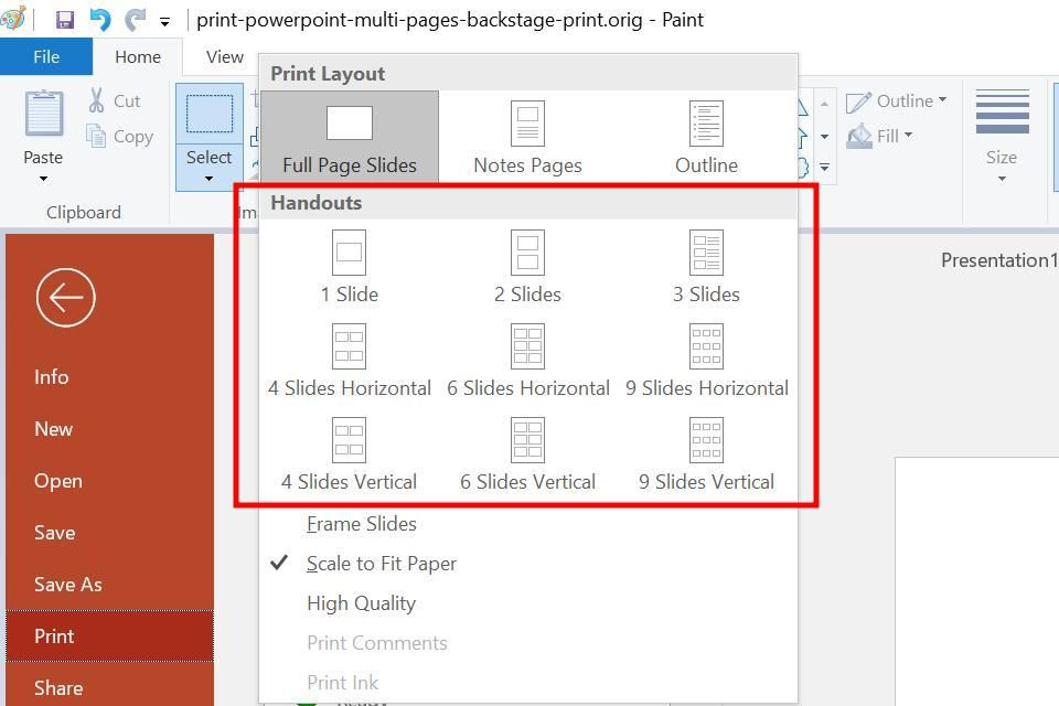 how to print multiple slides on one page in powerpoint