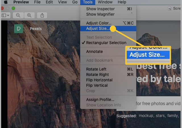 Adjust Size under the Tools menu in Preview