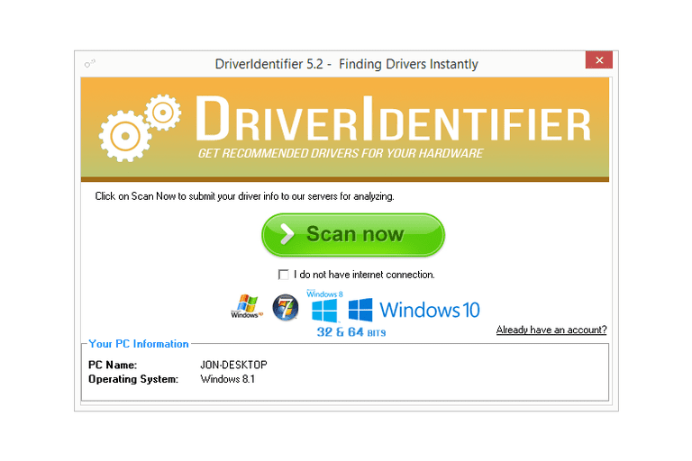 Screenshot of DriverIdentifier v5.2 in Windows 8