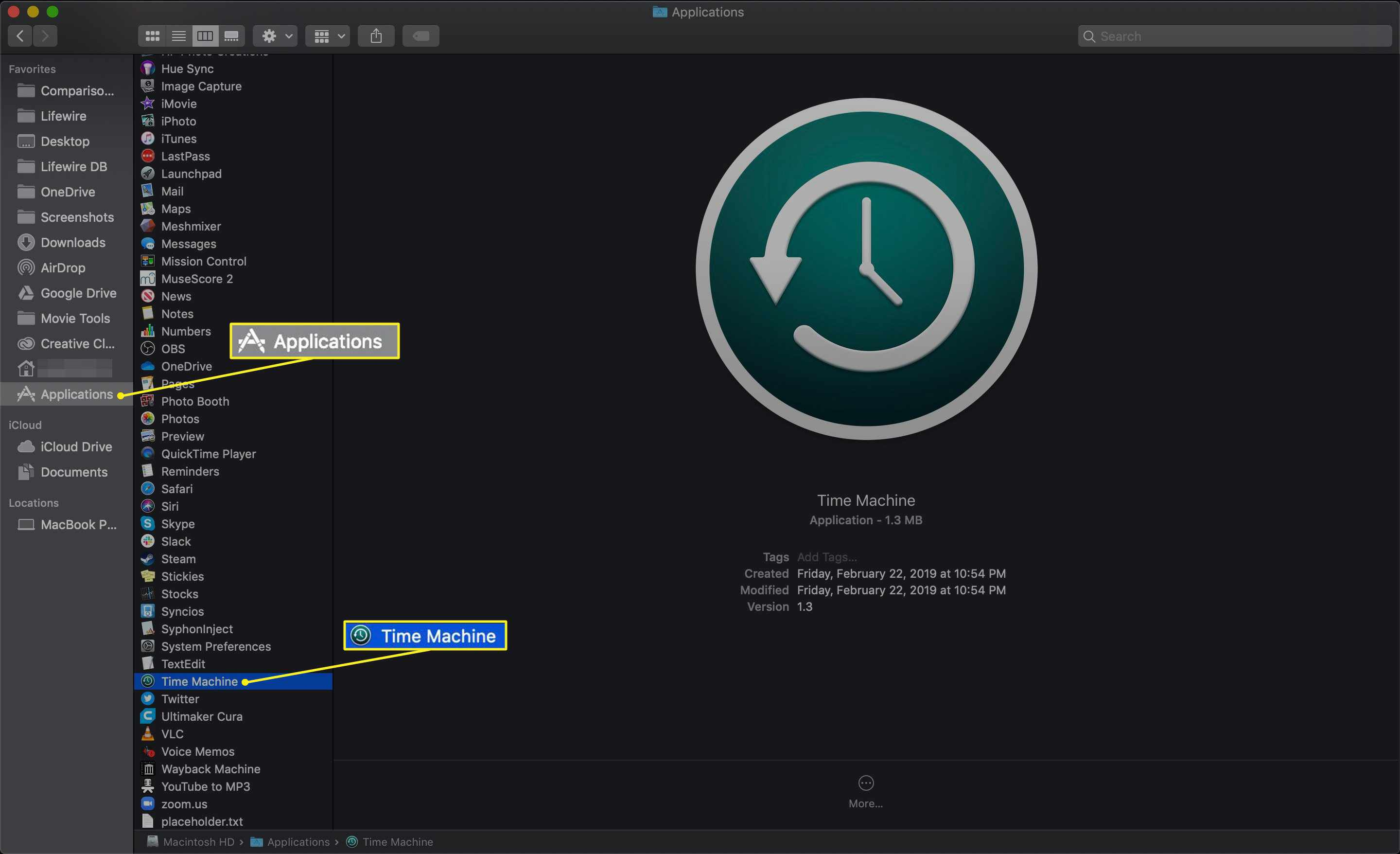 Time Machine for Mac selected in Applications folder