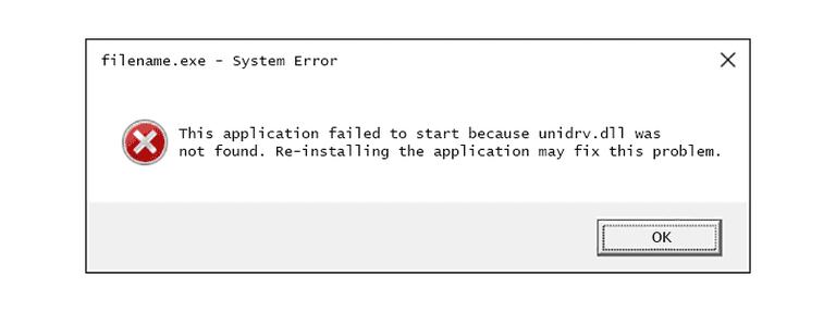 Screenshot of a unidrv DLL error message in Windows
