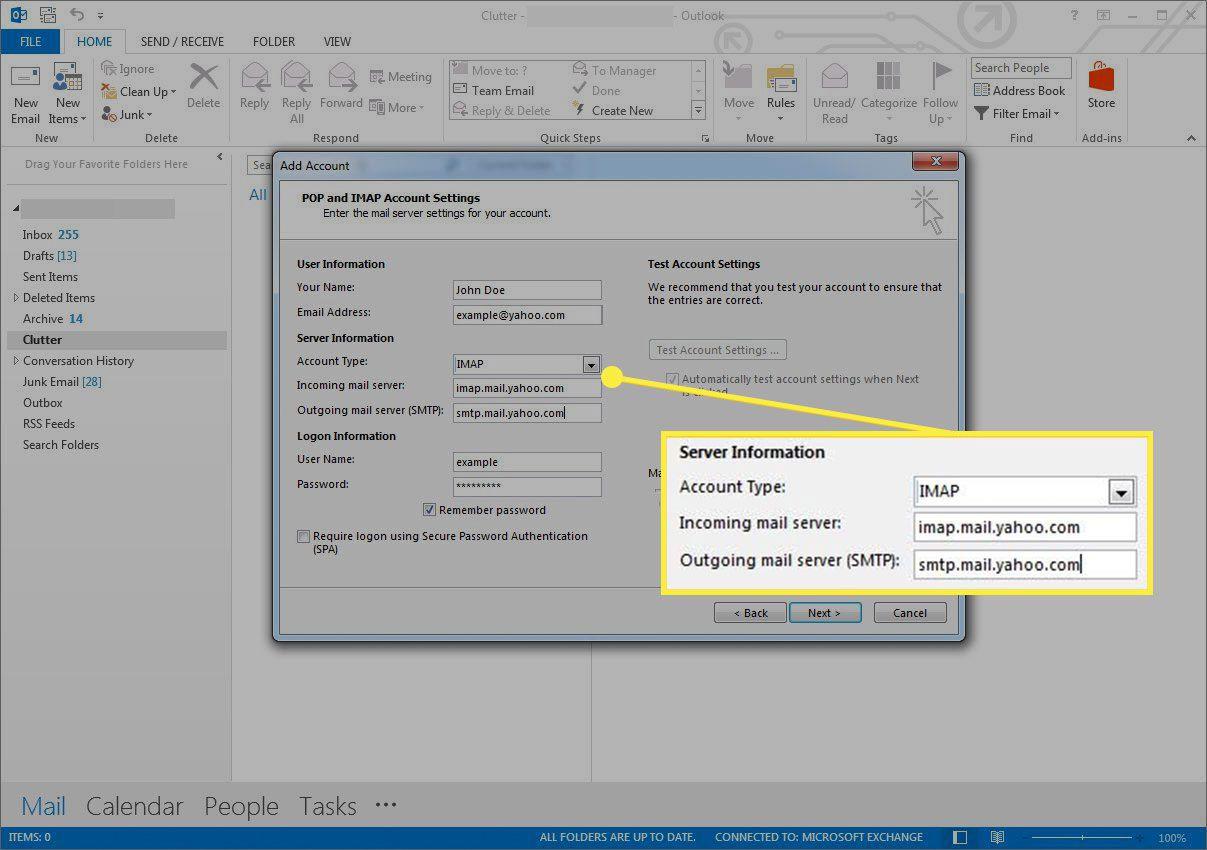 Server information in Outlook account setup