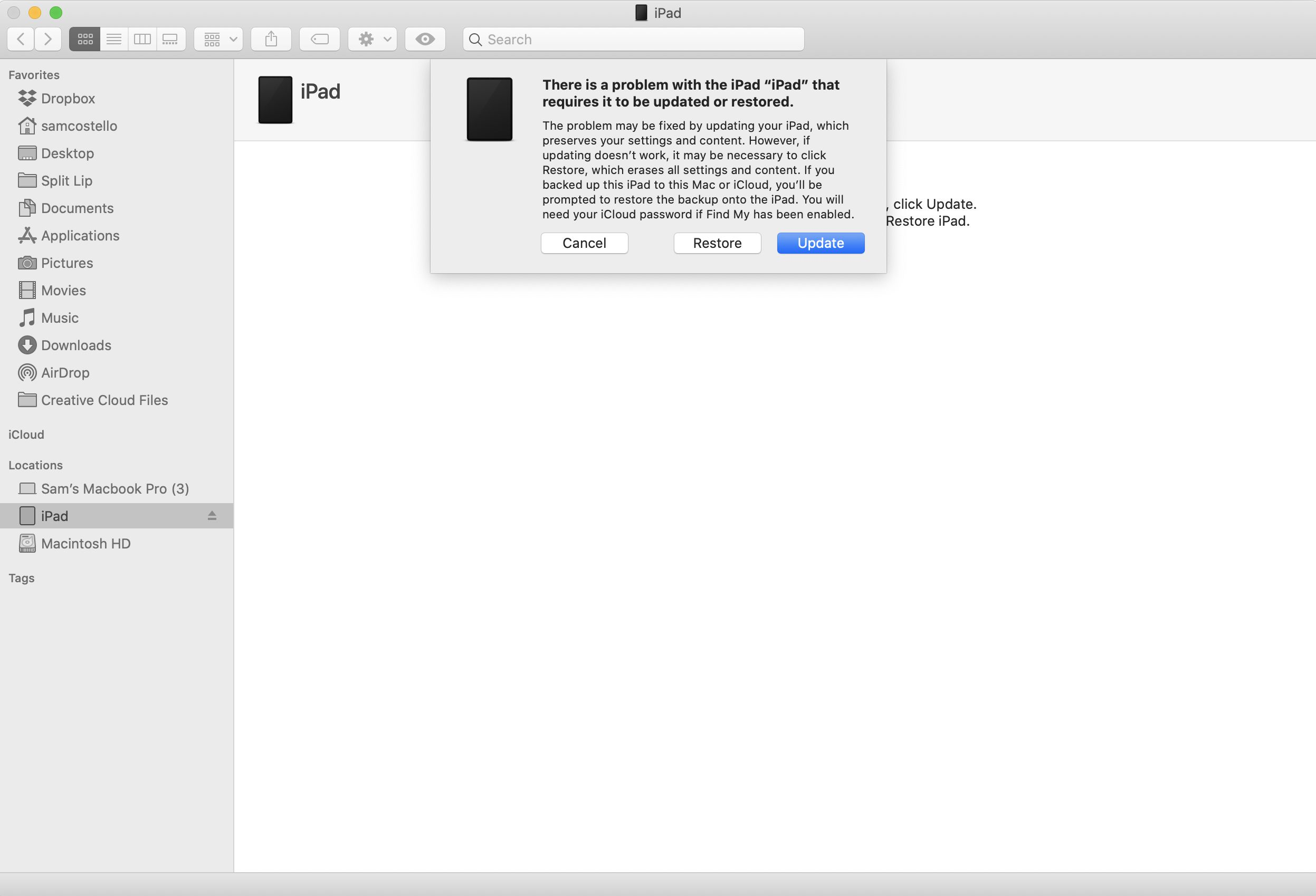 Screenshot of restoring an iPad on the Mac