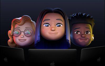 Multi ethnic group of 3 memoji looking at Apple screens