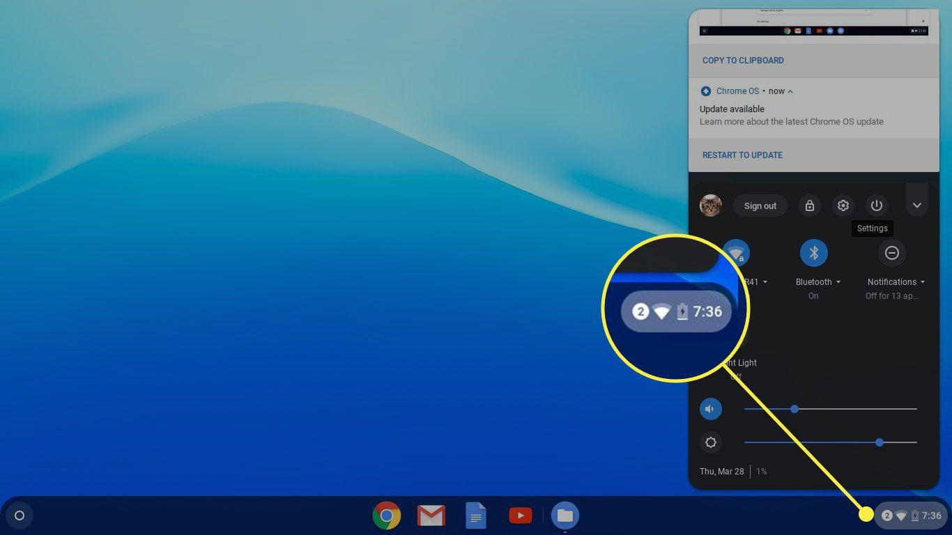 The settings menu on a Chromebook