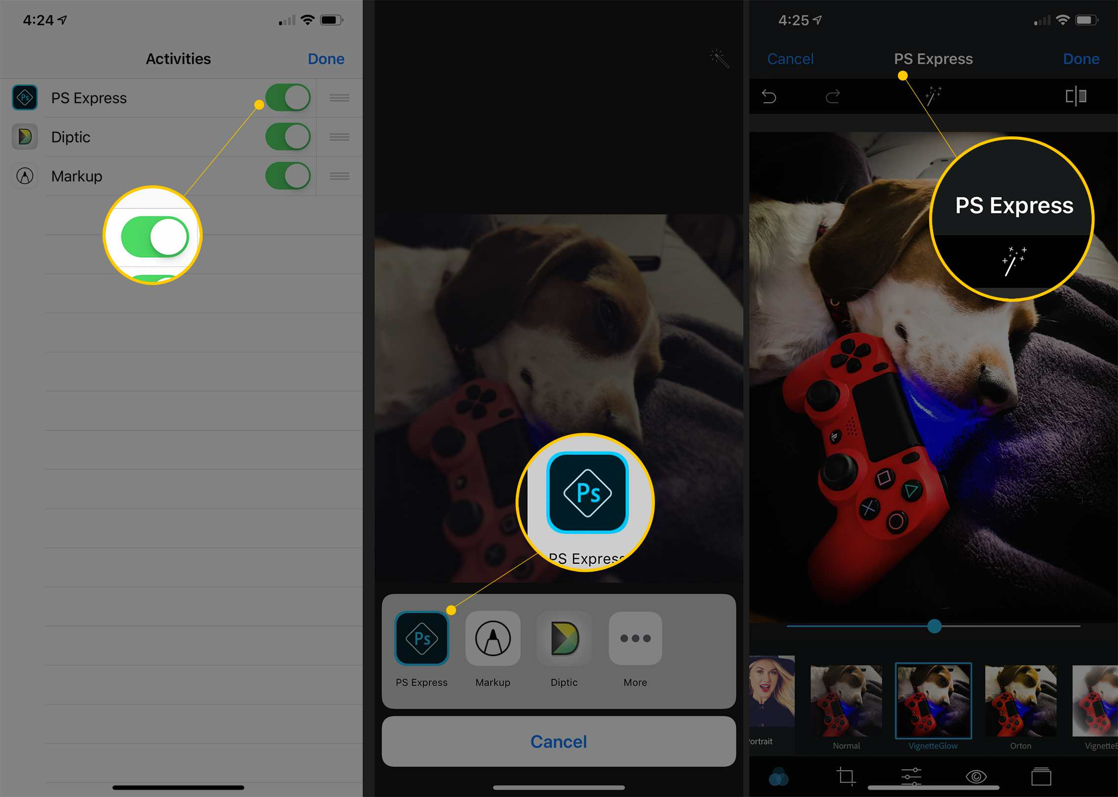 Three iOS screens showing PS Express toggled to ON, PS Express in More photo options and PS Express editing page