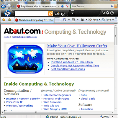 Internet Explorer with About.com page open.