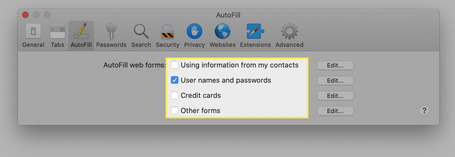 A screenshot of Safari's autofill preferences with the options highlighted