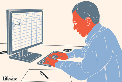Illustration of someone using Excel on a computer.