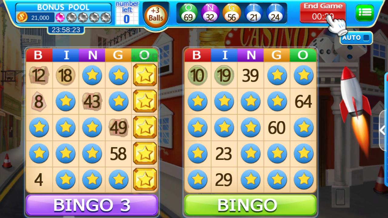 Screenshot of playing Bingo Trivia