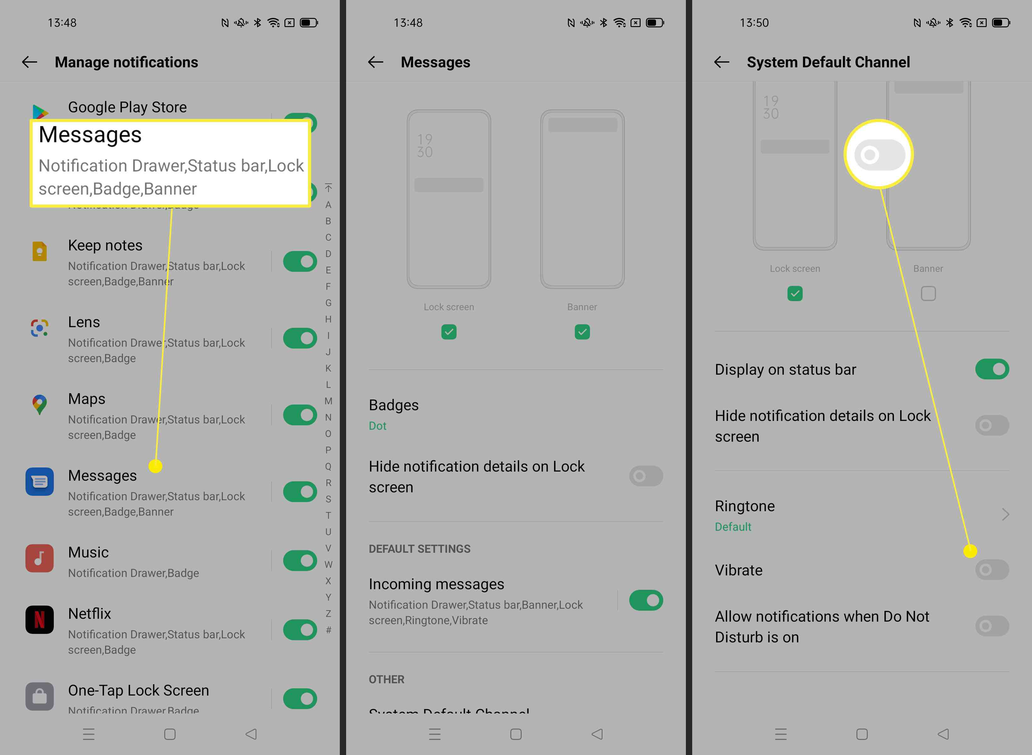 Steps needed to adjust vibration on notifications on Android phone