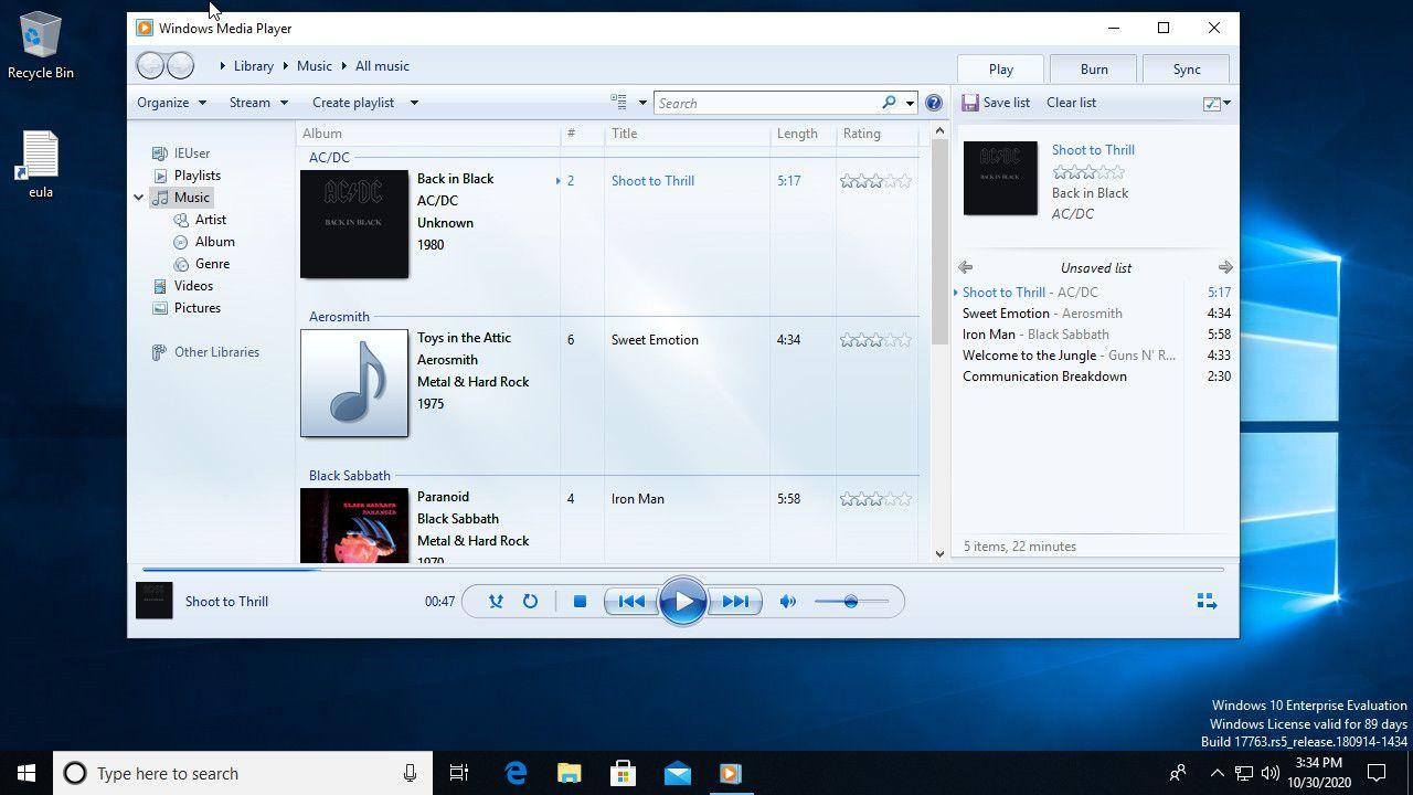 Windows Media Player 12 on Windows 10