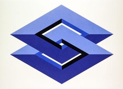 Illustration of double diamons in navy blue