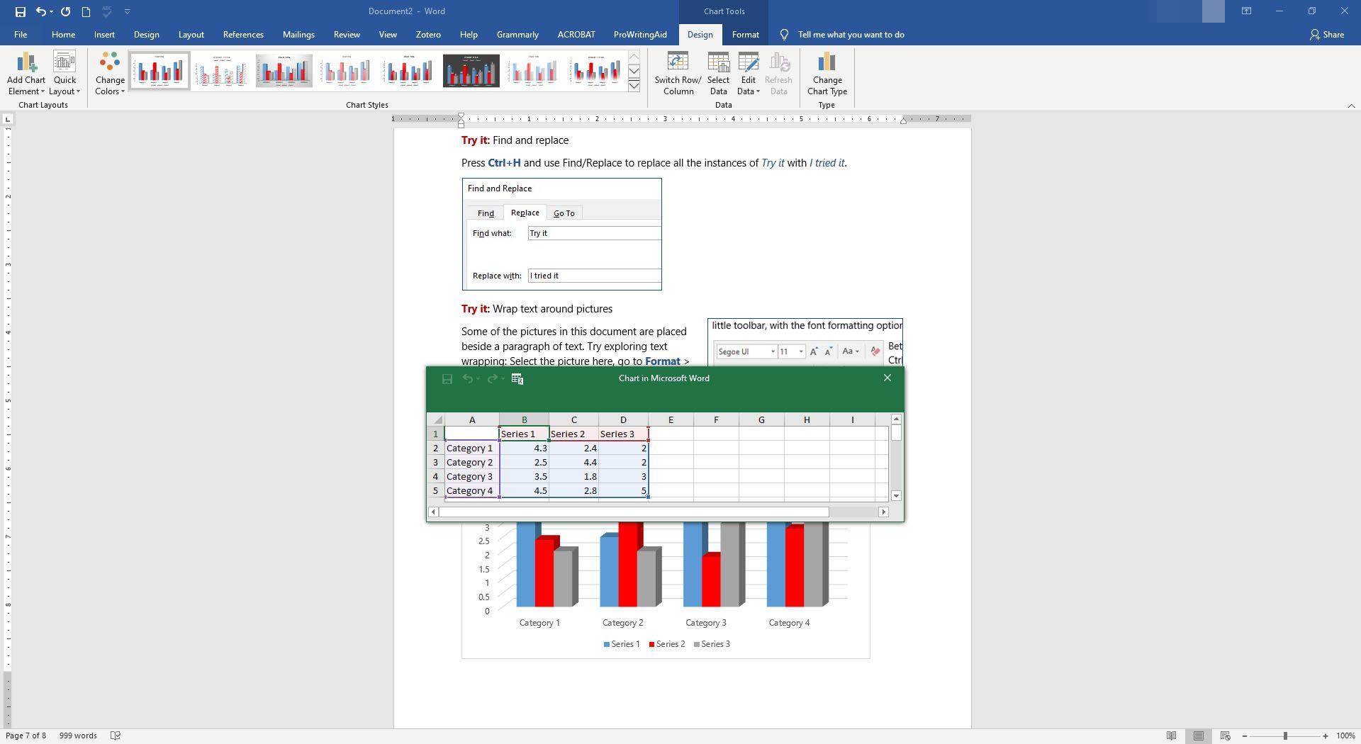 Entering in data into the mini spreadsheet in Microsoft Word.