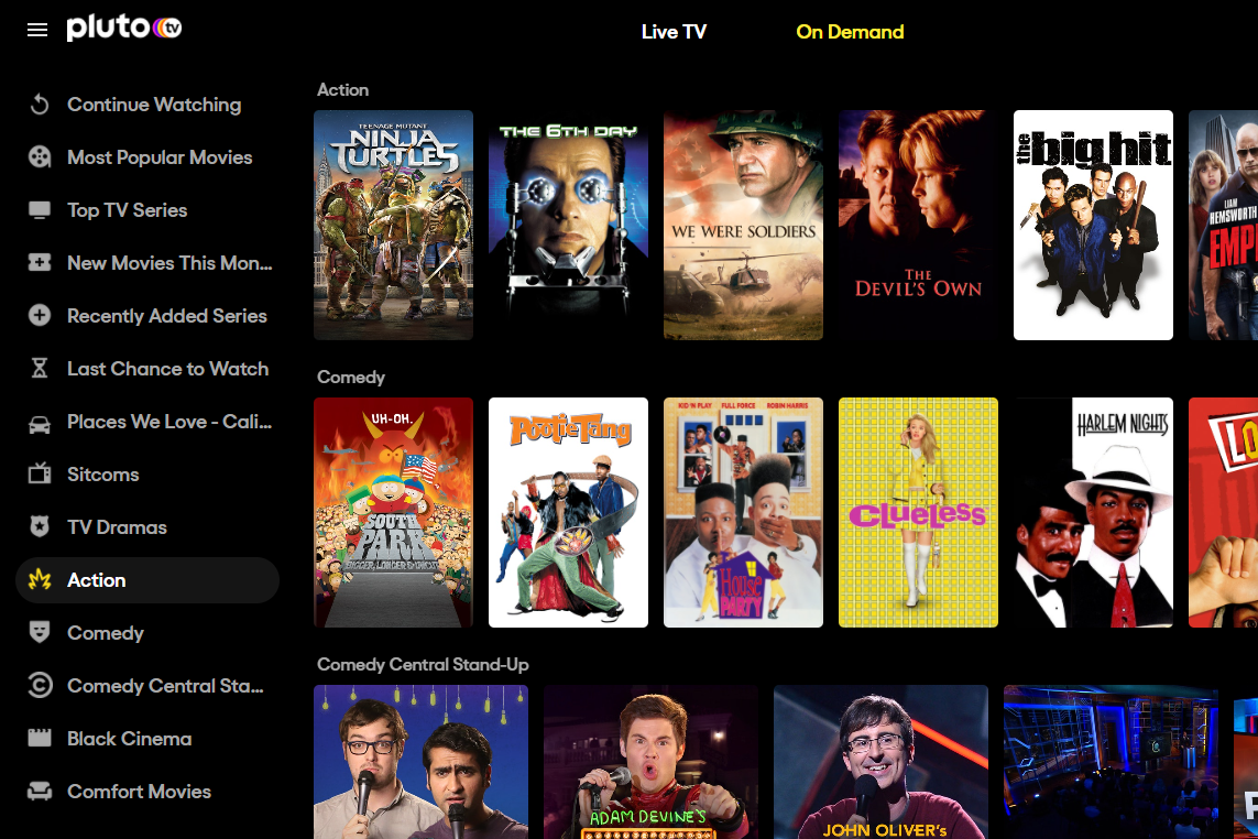 Free action movie streams on Pluto TV