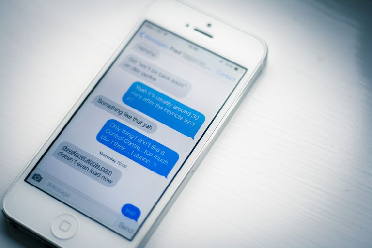 Messages on an iPhone 5