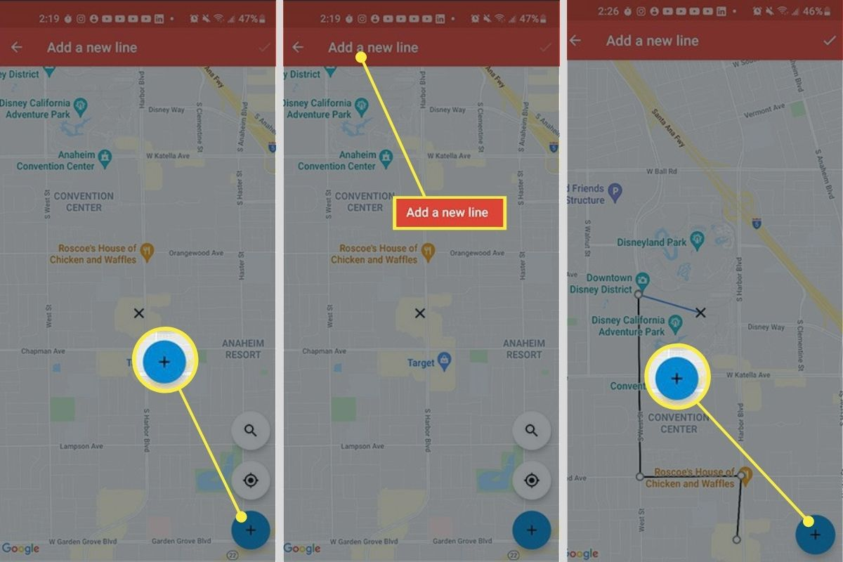 Blue + sign > Add a new line > Starting point in Google Maps app