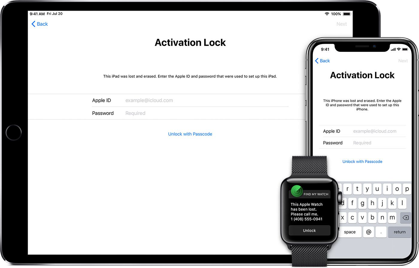 icloud activation lock on an ipad, iphone, and apple watch