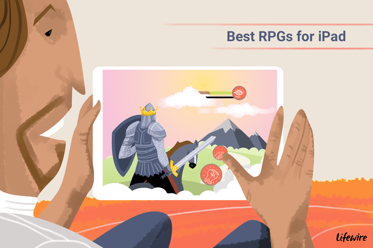An illustration of a person playing one of the best RPG games in this list on his iPad.