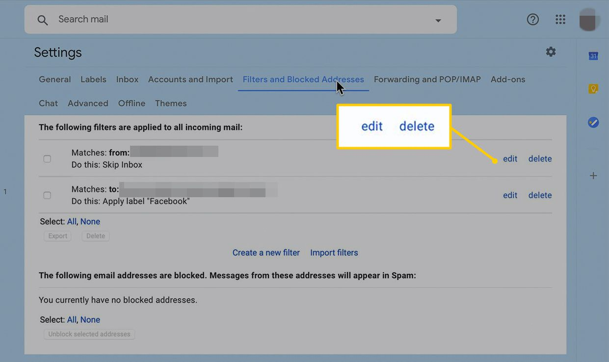 edit and delete buttons in Gmail Settings
