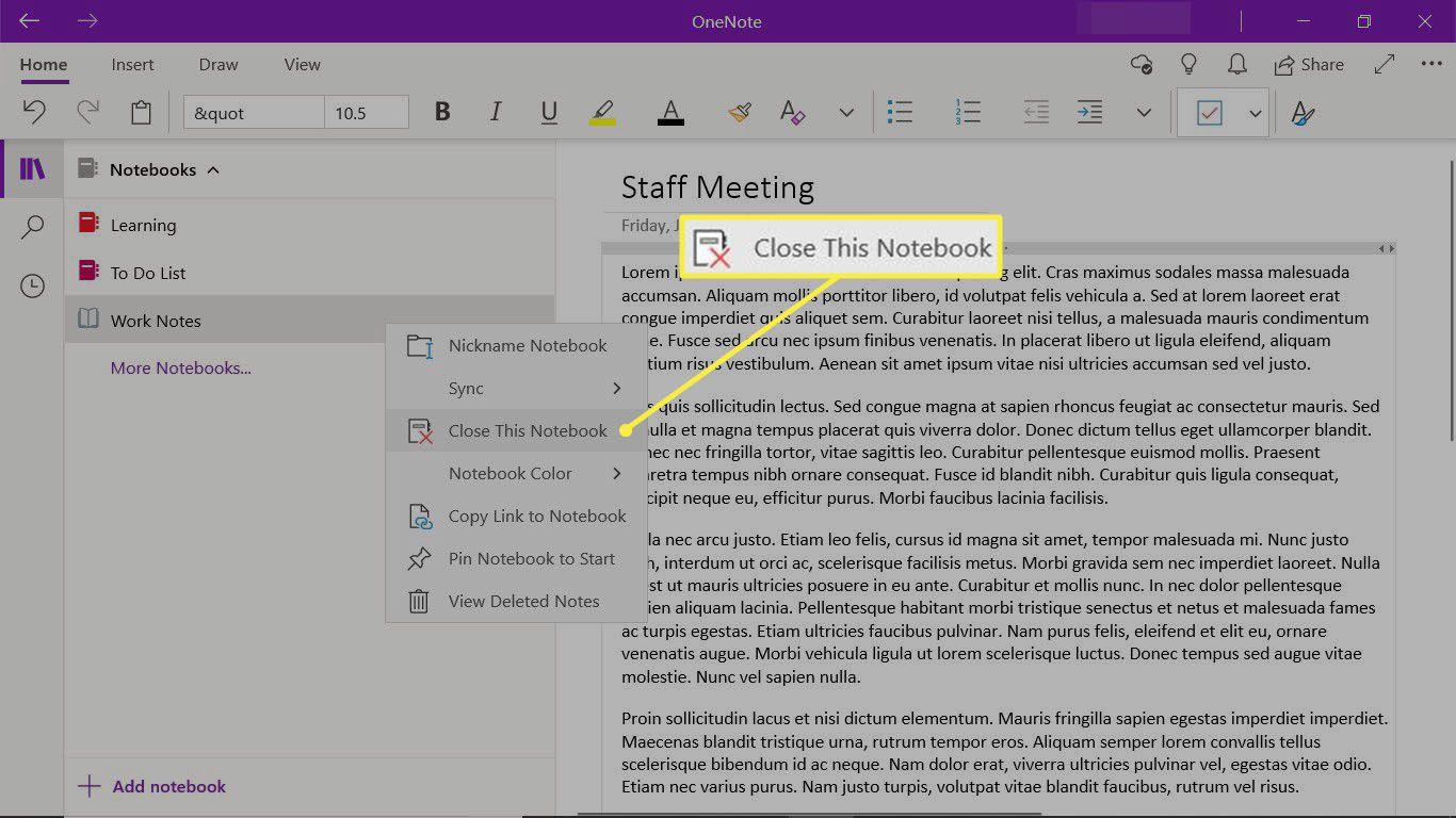 Closing a OneNote notebook in the OneNote desktop app