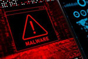 Malware warning on a computer screen