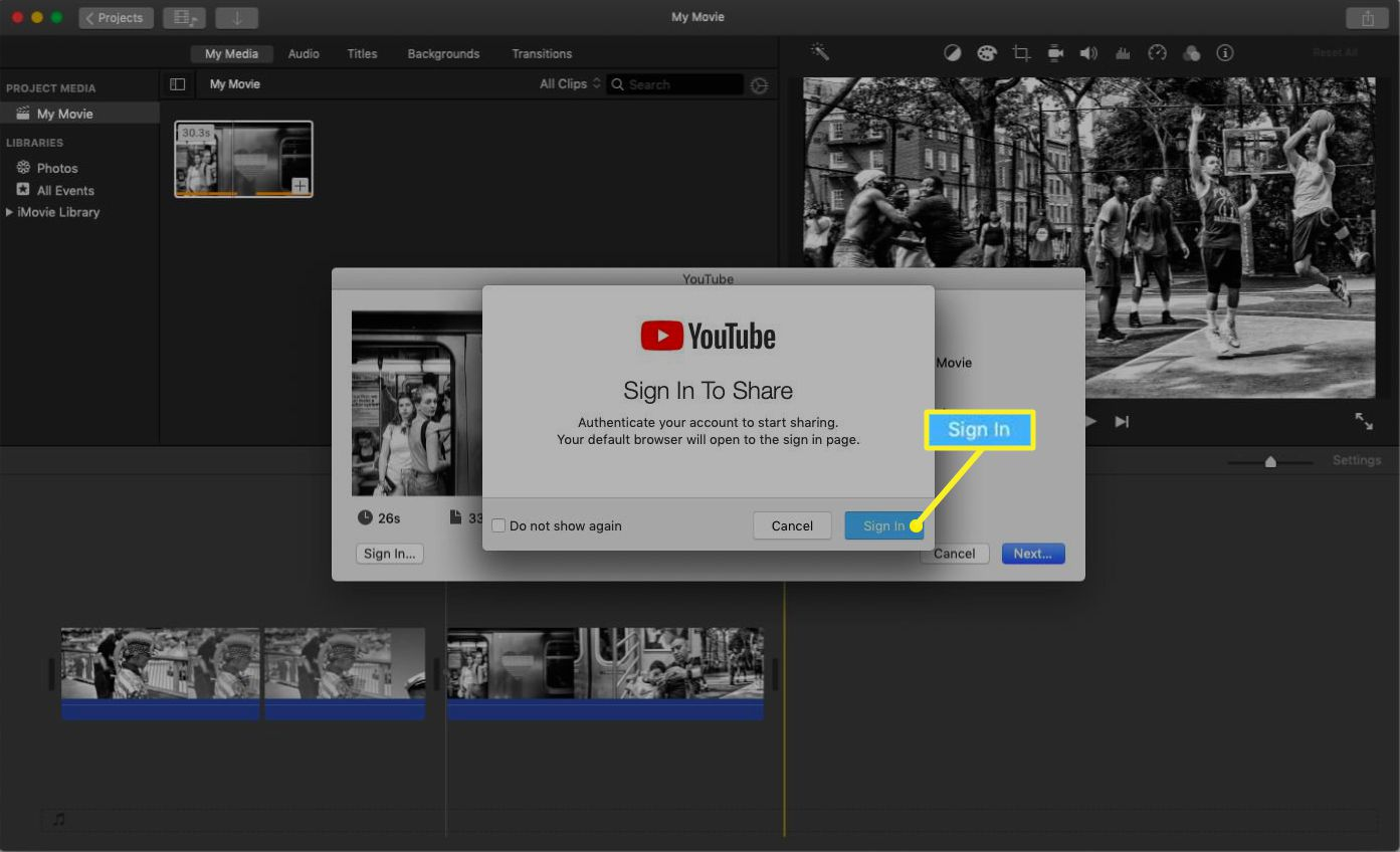 iMovie showing a YouTube sign in pop up menu.