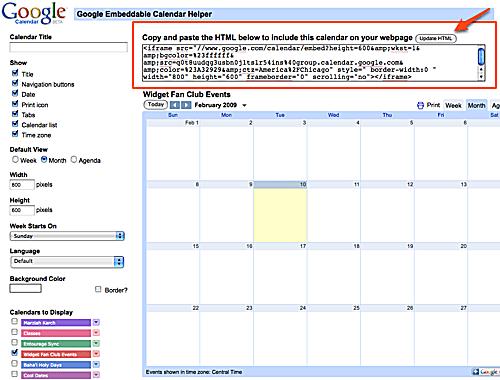 Embedding Google Calendar on a Website or Blog