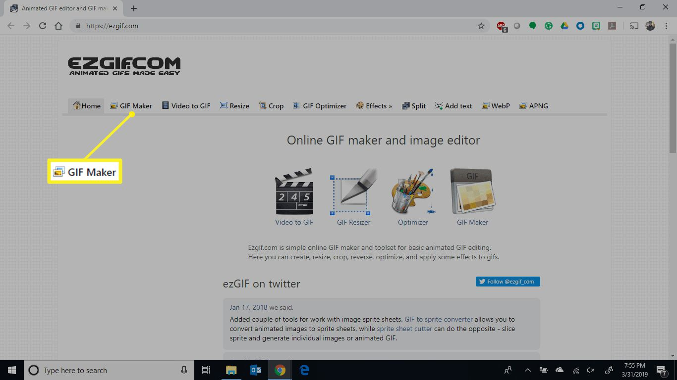 EZGif.com with GIF Maker highlighted