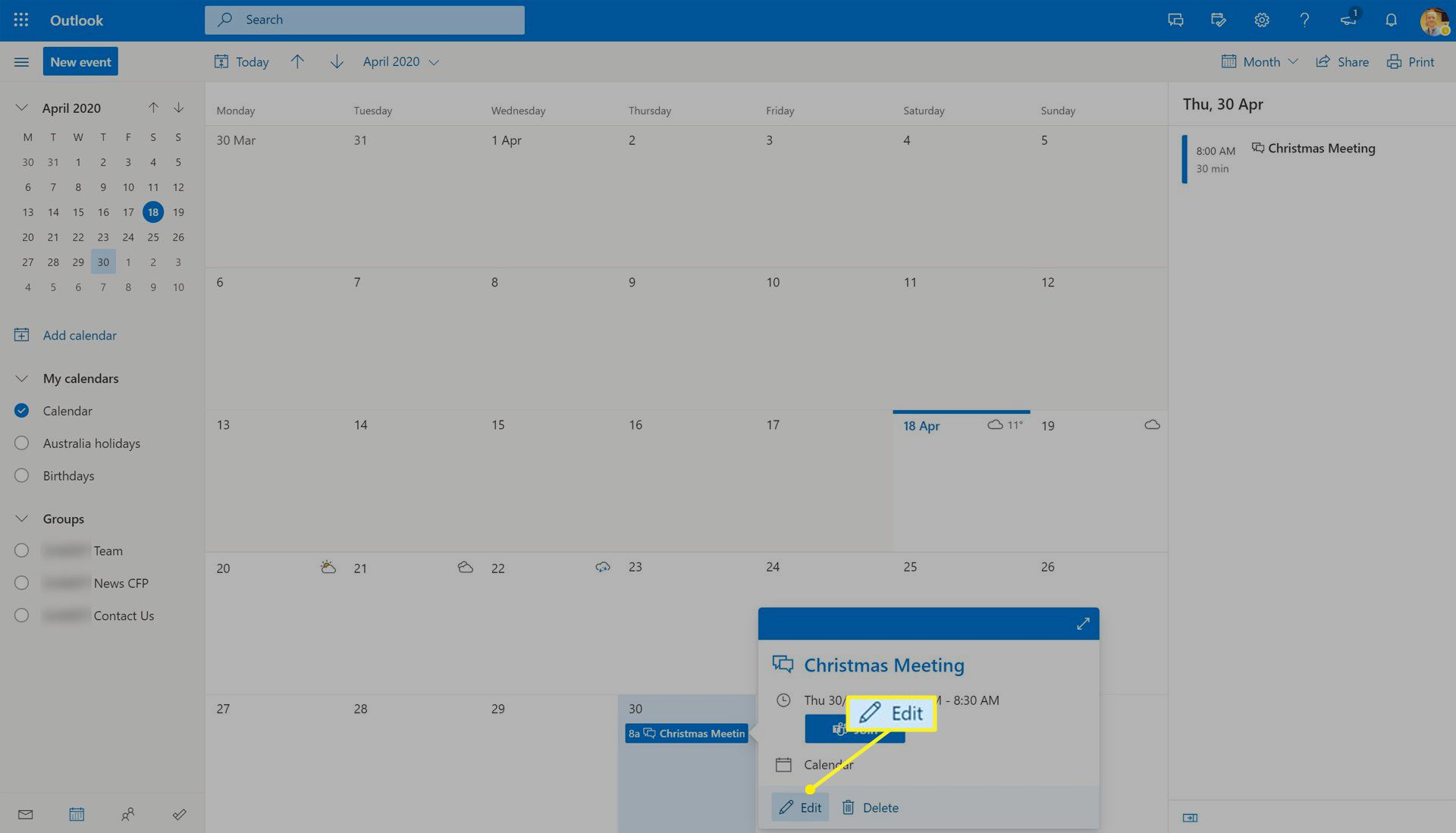 Editing a Microsoft Teams event on Outlook for the web