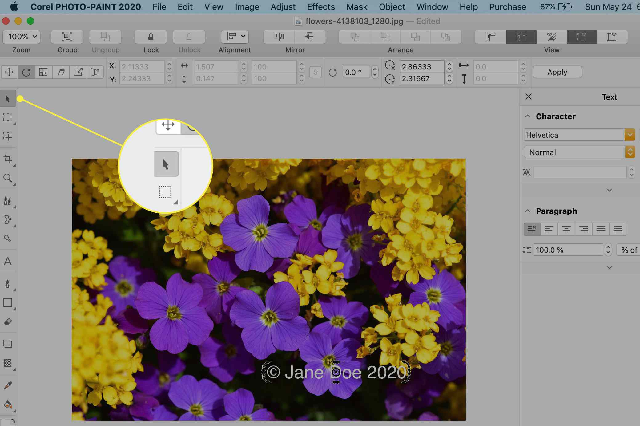 The Object Pick tool in Corel Photo-Paint