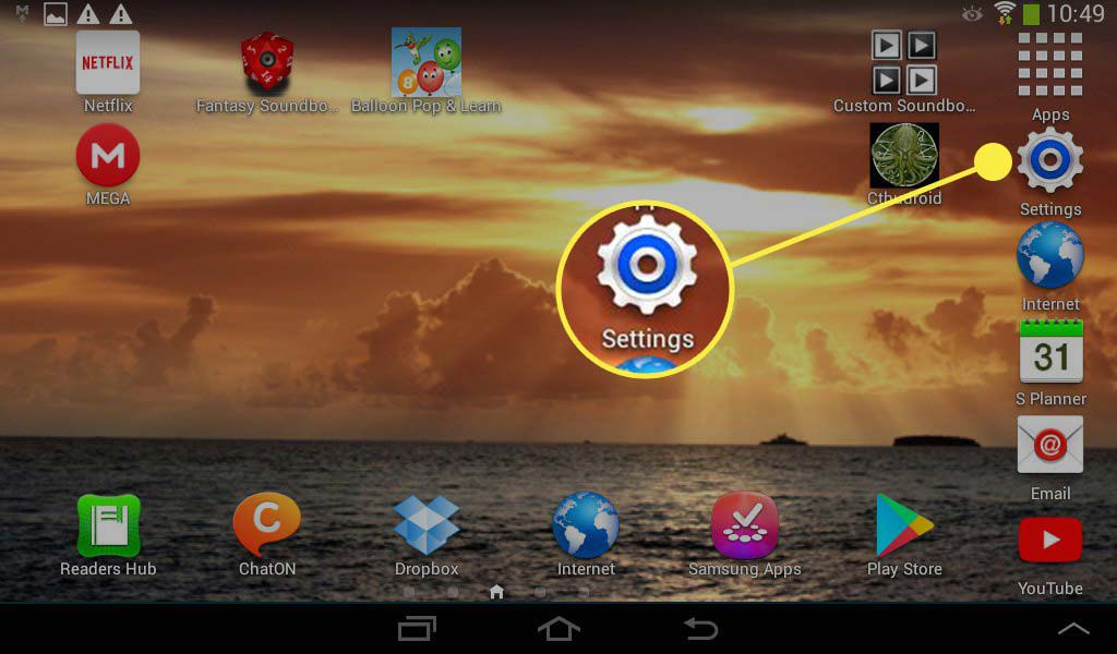 The Settings app highlighted on the home screen on an Android device.